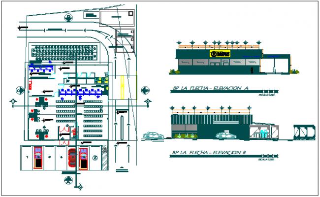 Bank branch building plan detail view dwg file