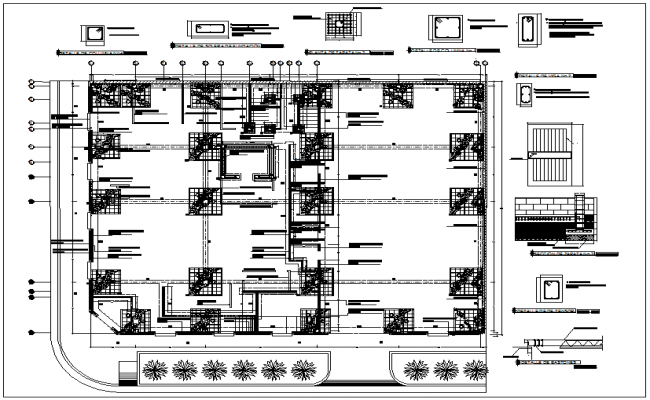 Bank Building Column Foundation Plan Detail Dwg File