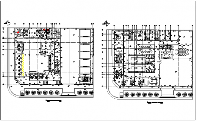Bank building floor plan view in detail dwg file