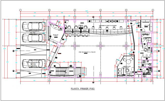 Bank building ground floor plan view detail dwg file