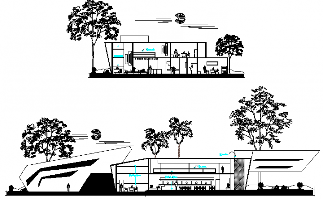 Bank building main and side sectional view dwg file