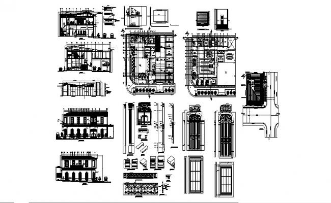 Bank building of san salvador elevation, section, plan and auto-cad details dwg file