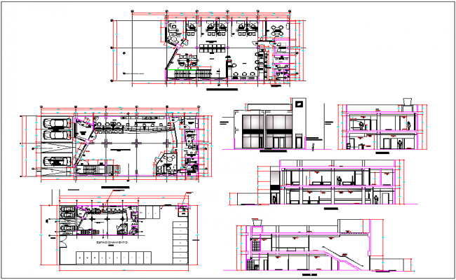 Bank building plan detail view dwg file