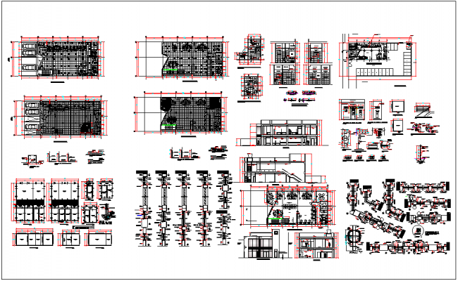 Bank building structure detail view dwg file