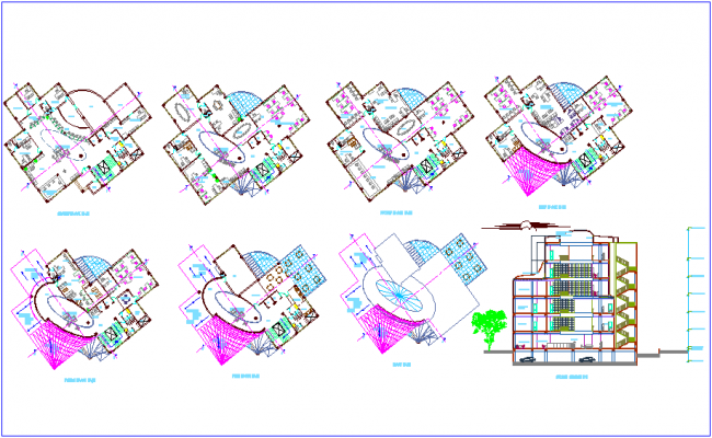 Bank design with floor plan and sectional view dwg file