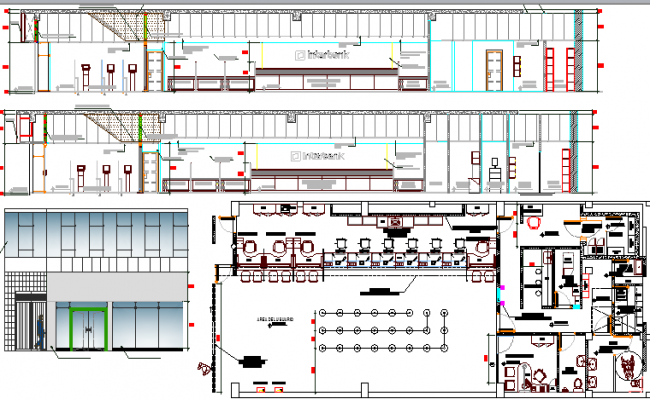 Bank office Elevation, Section and Structure Details dwg file