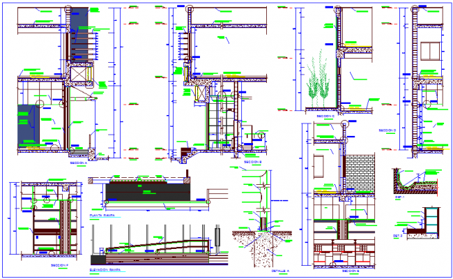 Bank office section view with construction detail dwg file