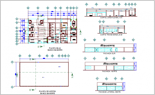 Bank plan elevation and section view dwg file