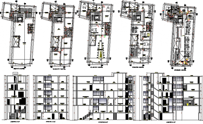 Banking agency elevation, section and floor plan details dwg file