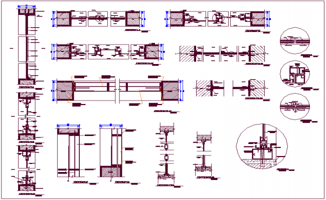 Banking center door & window design view with sectional view dwg file