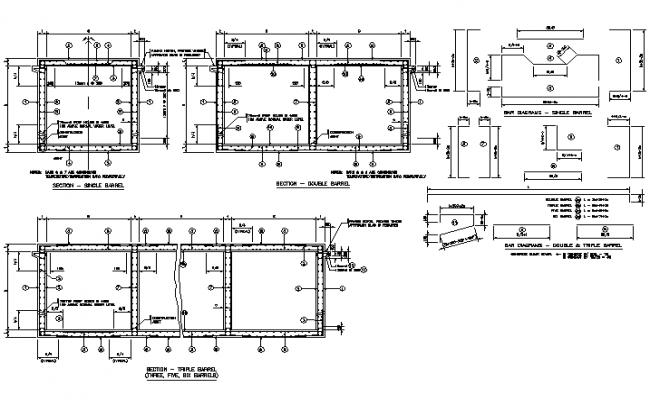 Bar diagram – double & triple barrel detail dwg file