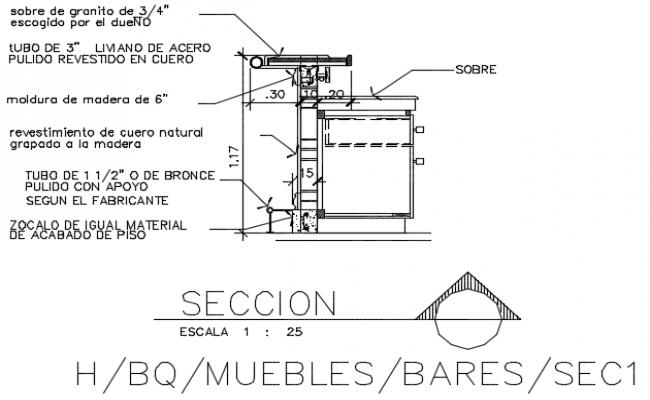 Bar furniture section detail dwg file