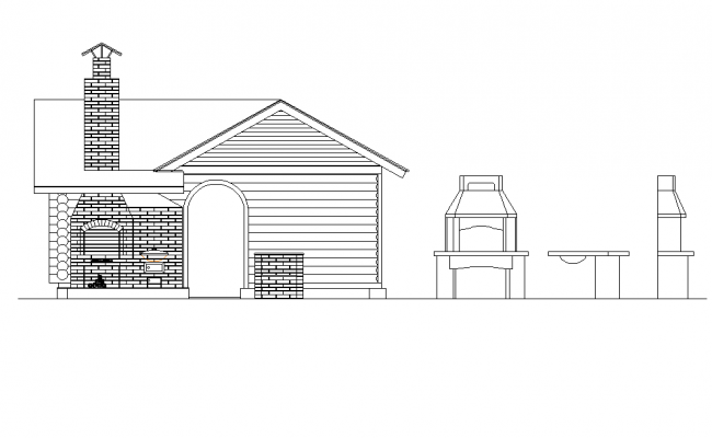 Barbecue kitchen elevation dwg file