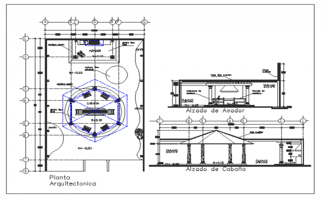 Barbecue restaurant elevation, section and structure details dwg file
