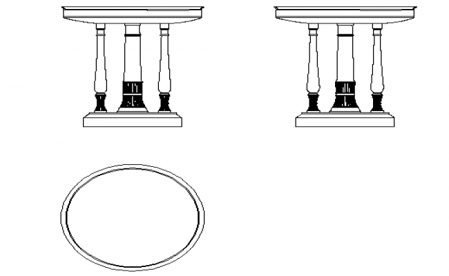 Base table front view and plan