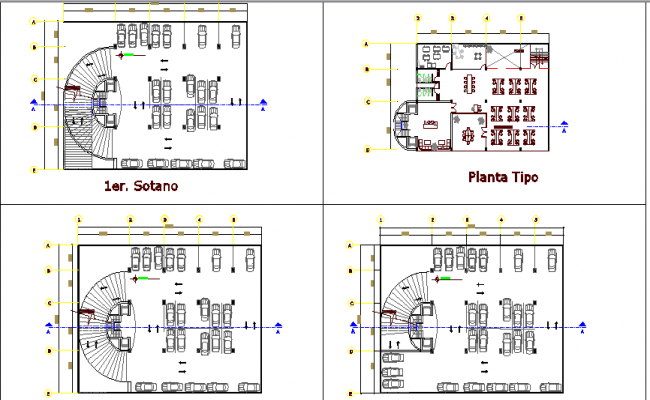 Basement and first floor layout plan details of seven story office building dwg file