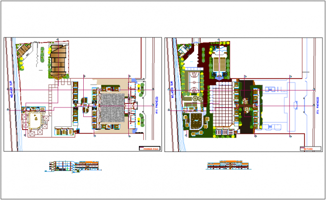 Basement and first floor plan of education center with elevation dwg file