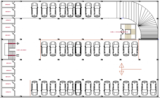 Basement car parking lot floor plan details of multi for Multi purpose building plans
