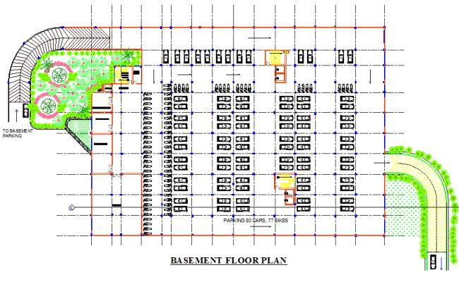 Basement floor hospital plan detail dwg file