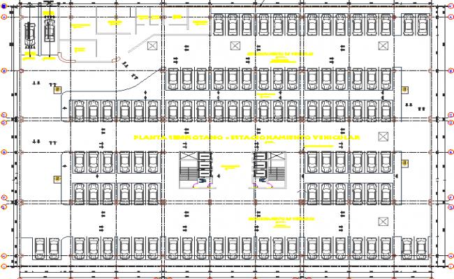 Basement floor plan layout details of business center dwg file