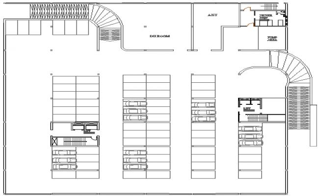 Basement floor plan layout details of media center dwg file