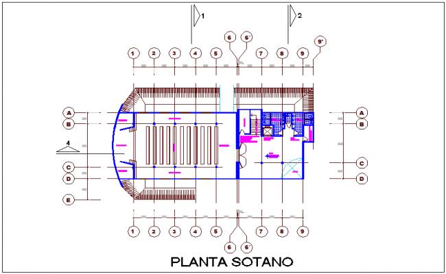 Basement floor plan of hospital dwg file