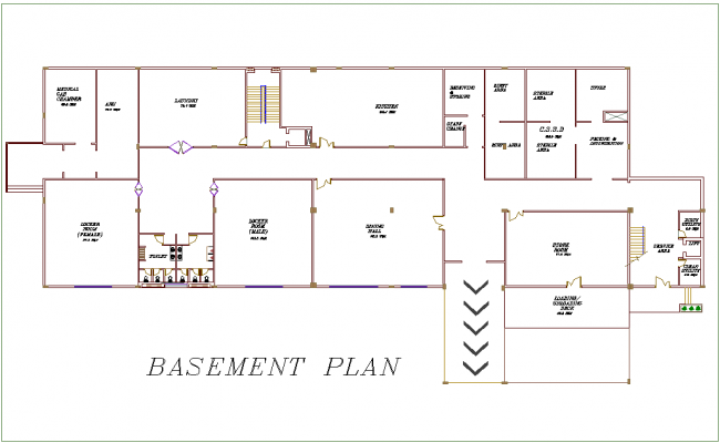Basement floor plan of hospital with architectural view dwg file