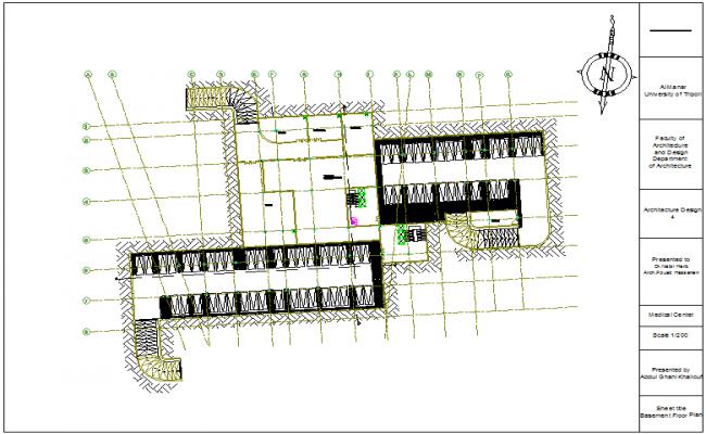 Basement floor plan of medical center dwg file
