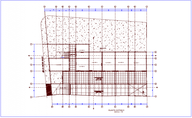 Basement floor plan of shopping center dwg file