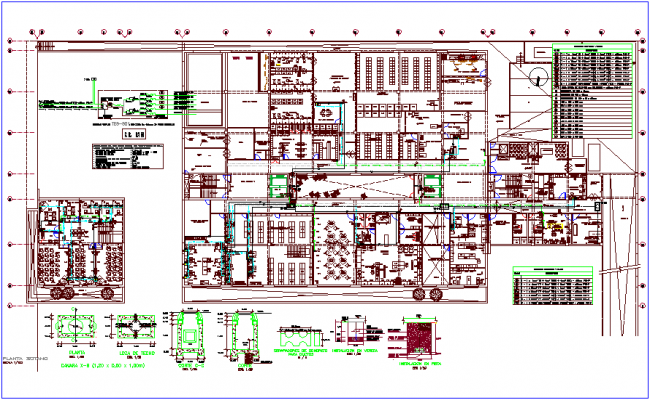Basement floor plan with detail view for hospital  dwg file