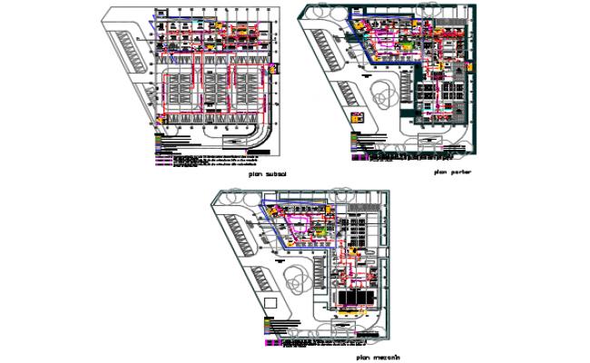 Basement floor to top floor plan detail dwg file
