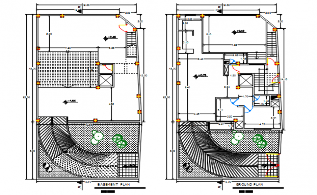 Basement plan and groung floor plan, Working plan detail dwg file,