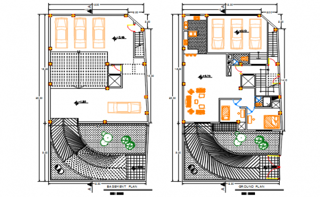 Basement plan and groung floor plan detail dwg file