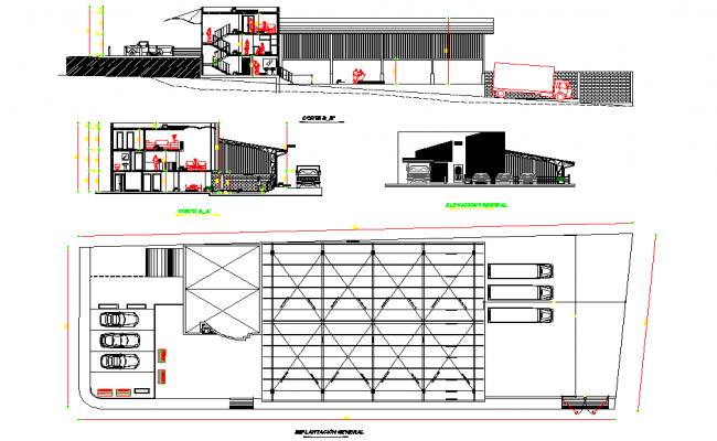 Basement plan and section detail dwg file