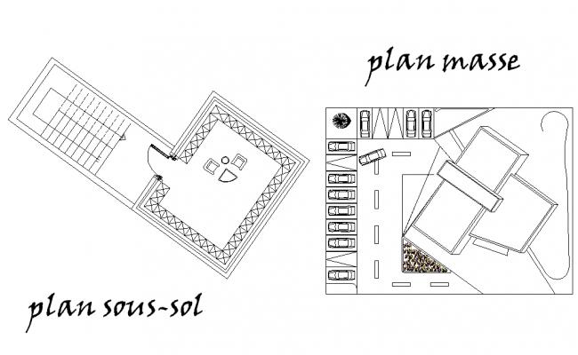 Basement plan and terrace plan detail dwg file