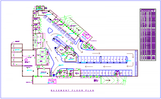Basement plan of club house with door and window opening schedule dwg file