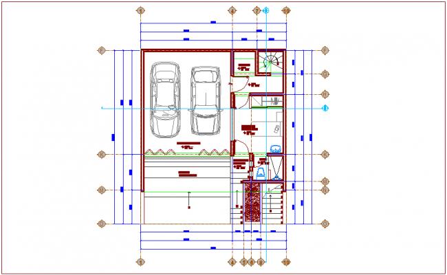 Basement plan of housing area dwg file