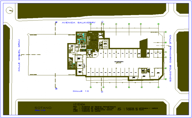 Basement plan of market chivy dwg file