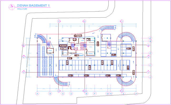 Basement plan of office with architectural view dwg file