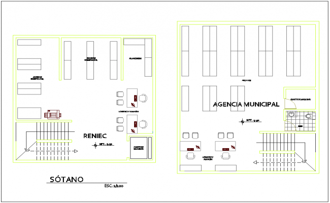 Basement plan with architectural view for administration government building dwg file