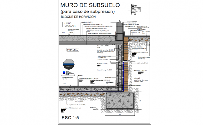 Basement rcc wall detail cad drawing