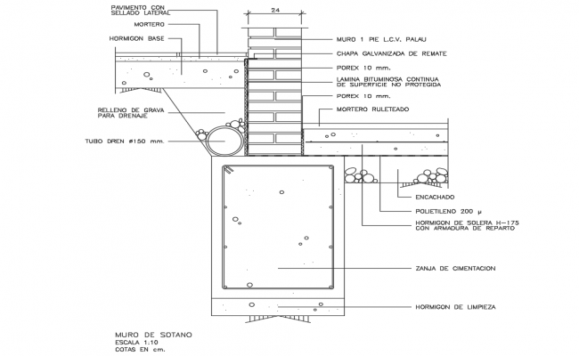 Basement wall constructive structure cad drawing details dwg file
