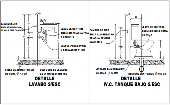 Basin and water closed elevation detail dwg file