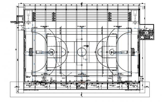 Basket Ball Ground Layout Plan Download AutoCAD File
