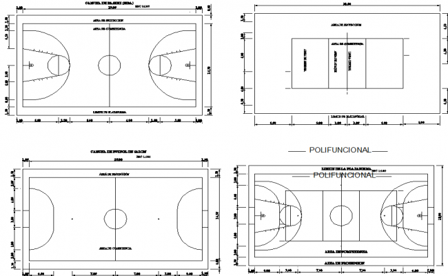Basket ball court layout plan dwg file