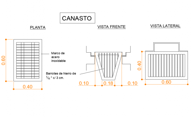 Basket plan and section dwg file