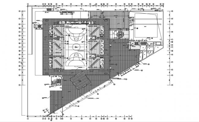 Basketball Stadium Plan AutoCAD File