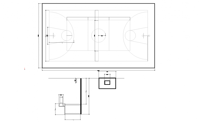 Basketball court plan detail dwg file.