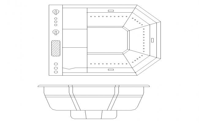 Bath-tub structure detail elevation 2d view layout file
