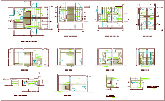 Bathroom Design View With Plan And Sectional Dwg File